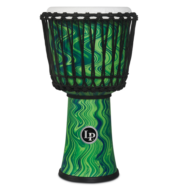 LP2010-GM - LP® 10-inch Rope Tuned Circle Djembe with Perfect-Pitch head - Green Marble